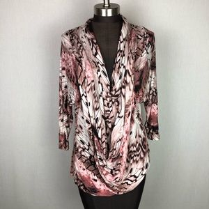 Jennifer Lopez JLo Draped Cowl Neck Pink Blouse